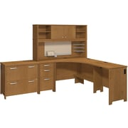 Bush Business Envoy Corner Desk and Hutch with Storage, Natural Cherry
