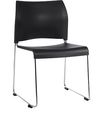 National Public Seating 8800 Series Stacking Chair, Black 4/Pack