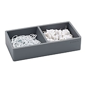 Poppin Softie This + That 2 Compartment Silicone Accessory Tray, Dark Gray (103077)