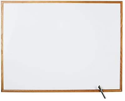 Staples Standard Melamine Whiteboard, Oak Finish Frame, 8'W x 4'H