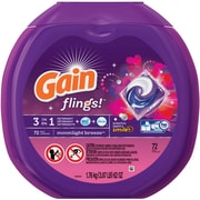 Gain Flings 3-in-1 Laundry Detergent, Moonlight Breeze, 72 Flings/Pack