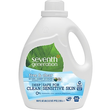 Seventh Generation™ Natural Liquid Laundry Detergent, Free & Clear, Unscented, 66 Loads, 100 oz. Bottle (22780)