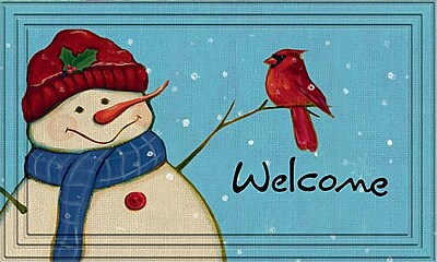 Apache Mills Naturelles Holiday Doormat, Rustic Snowman Design, 18