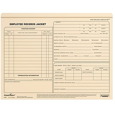 ComplyRight Employee Records Jacket, Standard Letter Size