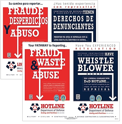 ComplyRight DOD Fraud and Whistleblower Hotline Poster, Bilingual (E2250B)