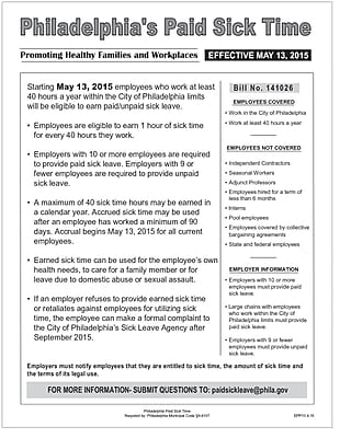 ComplyRight Philadelphia Paid Sick Time Poster (EPP13)