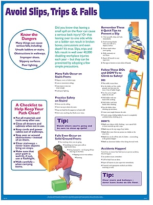 ComplyRight Avoid Slips, Trips, and Falls Poster, English
