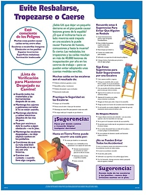 ComplyRight Avoid Slips, Trips, and Falls Poster, Spanish