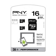 PNY® P-SDU16G4X2-GE 16GB microSDHC Memory Card