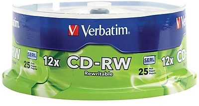 Verbatim 700MB 80MIN 12X High Speed CD-RW Spindle, 25/Pack (95155)