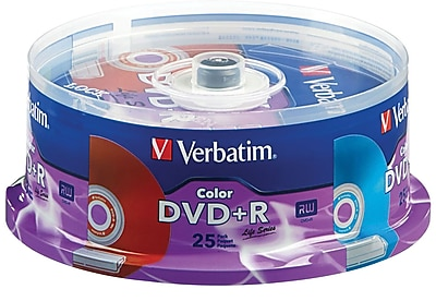 Verbatim 4.7GB 16X Color DVD+R Spindle, 25/Pack (98431)