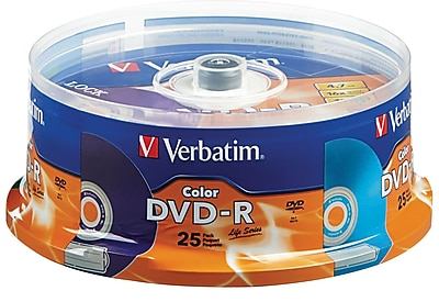 Verbatim 4.7GB 16X Color DVD-R Spindle, 25/Pack (98432)
