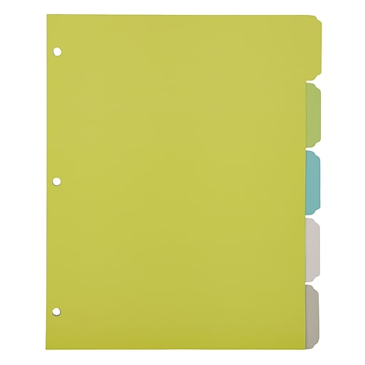 office by martha stewart binder dividers 5 tab letter size multi