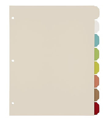 Office by Martha Stewart™ Binder Dividers, 8 Tab, Letter Size, Multi-Colored Plastic (28752)