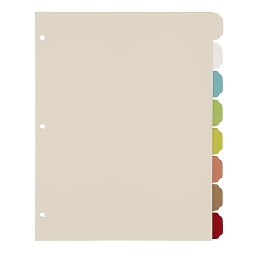 office by martha stewart binder dividers 8 tab letter size multi