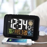 La Crosse Technology Color LED Alarm Clock with USB charging port, Black (617-1485B)
