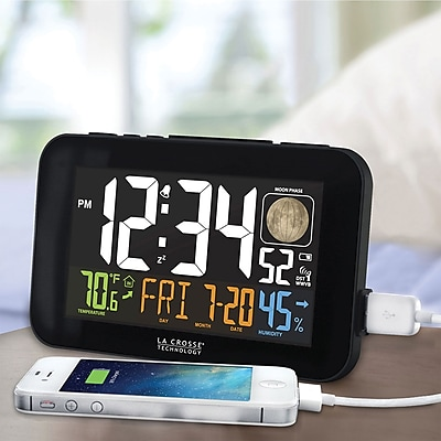 La Crosse Technology Color LED Alarm Clock with USB charging port, Black (617-1485B)