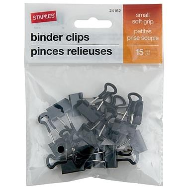 StaplesMD – Pinces relieuses SoftGrip, petites, 3/4 po, noir, 15/pqt