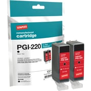 Staples® Remanufactured Inkjet Cartridge, Canon PGI-220 (2945B001), Black, Twin Pack