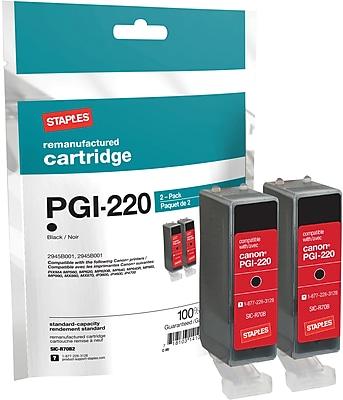 Staples® Remanufactured Inkjet Cartridge, Canon PGI-220 (2945B001), Black, Twin Pack