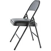 Alera® Steel Folding Chair w/Padded Seat, Graphite, 4/Carton