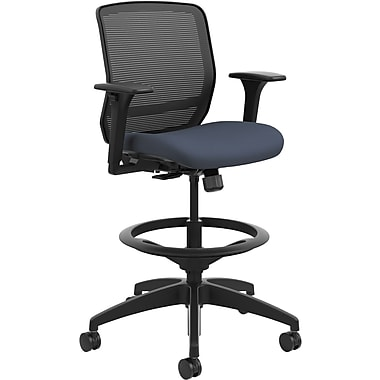 HON® Quotient™ Computer Stool with Adjustable Arms, Mesh/Fabric, Cerulean, Seat: 19