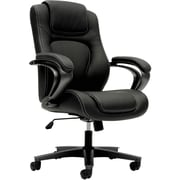 HON Mid-Back Chair, Center-Tilt, Fixed Arms, Black Vinyl NEXT2018 NEXT2Day