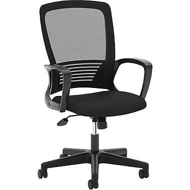 basyx by HON® VL525 High-Back Office Chair with Fixed Arms, Mesh, Black, Seat: 24
