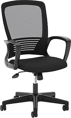 HON Mesh High-Back Chair, Center-Tilt, Fixed Arms, Black Frame, Black Mesh NEXT2018 NEXT2Day