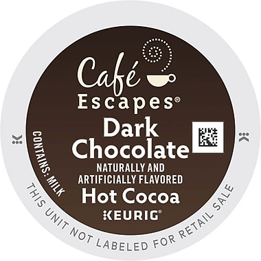 Cafe Escapes® Dark Chocolate Cocoa, Regular Keurig® K-Cup® Pods, 16 Count