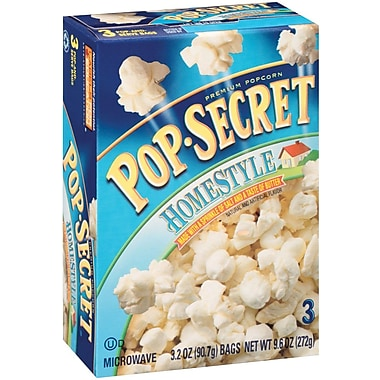 Pop Secret Microwave Popcorn, Homestyle, 3.2 oz. Bags, 3 Bags/Box