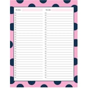 "Kahootie Co™  Two Category To Do List  Notepad, 8.5"" x 11"", 50 sheets per pad, Pink (TCNP05)"