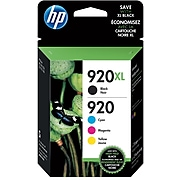 HP920XL/920 Black High Yield and Cyan/Magenta/Yellow Standard Yield Ink Cartridge, 4/Pack (N9H61FN#140)