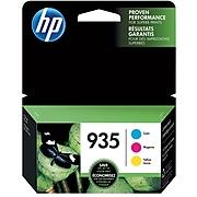 HP 935 Cyan/Magenta/Yellow Standard Yield Ink Cartridge, 3/Pack (N9H65FN#140)