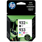 HP 933 Standard CMY/932XL High Yield Black Multi-pack, 4/Pack
