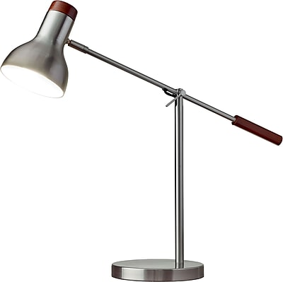 Adesso Watson Desk Lamp, Brushed Steel With Walnut Wood (4253-22)