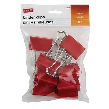 StaplesMD – Pinces relieuses, grandes, 2 po, rouge, 8/pqt