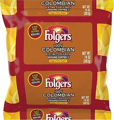 Folgers 100% Colombian Coffee. 1.4 oz. Filter Packs, 40/Case 2070324