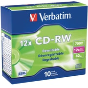Verbatim CD-RW 700MB 4X-12X High Speed with Branded Surface 10pk Slim Case