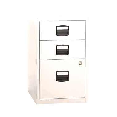 Bisley Three Drawer Steel Home Or Office Filing Cabinet, White, Letter/A4 (FILE3-WH)