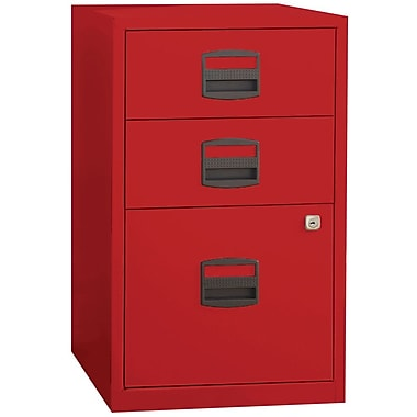 Bisley Three Drawer Steel Home Or Office Filing Cabinet, Red, Letter/A4 (FILE3-RD)