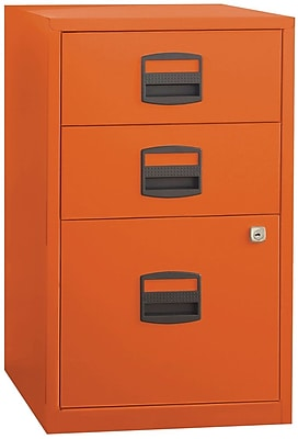 Bisley Three Drawer Steel Home or Office Filing Cabinet, Orange, Letter/A4 (FILE3-OR)