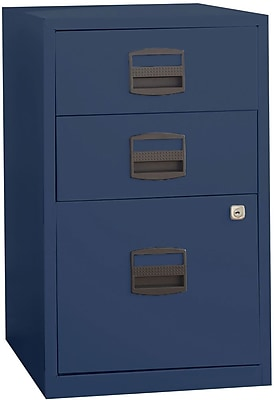 Bisley Three Drawer Steel Home or Office Filing Cabinet, Navy, Letter/A4 (FILE3-NV)