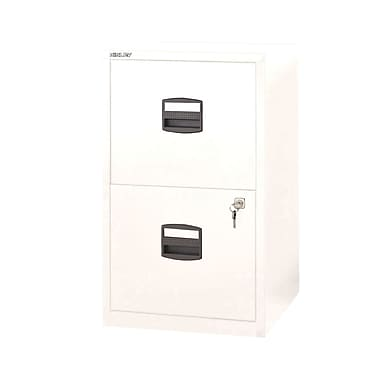 Bisley Two Drawer Steel Home Or Office Filing Cabinet, White, Letter/A4 (FILE2-WH)