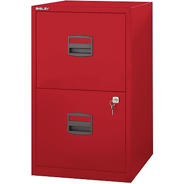 Bisley Two Drawer Steel Home Or Office Filing Cabinet, Red, Letter/A4 (FILE2-RD)