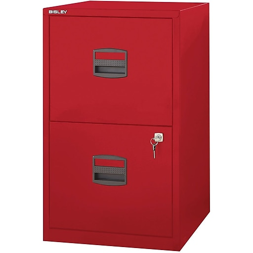 Bisley Two Drawer Steel Home Filing Cabinet Orange File2: Bisley Two Drawer Steel Home Or Office Filing Cabinet, Red