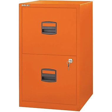 Bisley Two Drawer Steel Home Or Office Filing Cabinet, Orange, Letter/A4 (FILE2-OR)