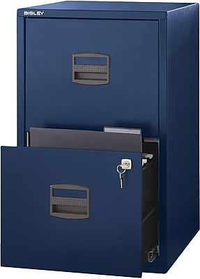 Bisley Two Drawer Steel Home or Office Filing Cabinet, Navy, Letter/A4 (FILE2-NV)