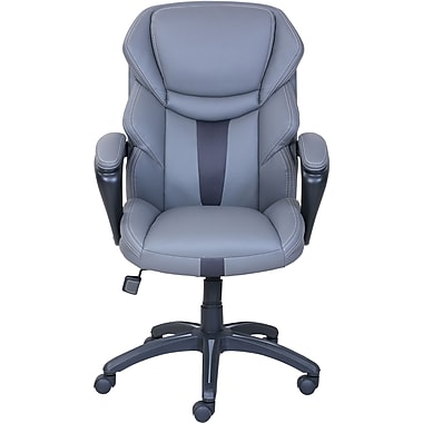 Superbe Dormeo Espo Octaspring Bonded Leather Managers Office Chair, Fixed Arms,  Gray (47055)