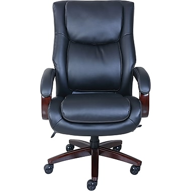 la-z-boy bradley leather executive office chair, fixed arms, brown